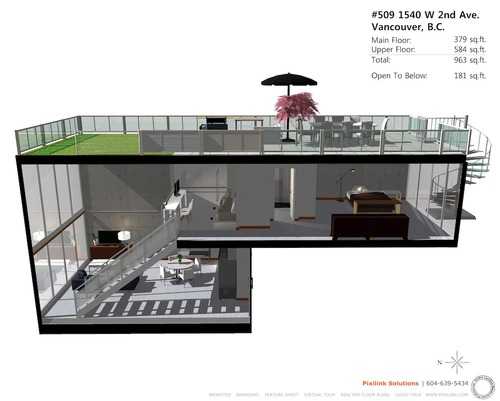 3D Floor Plan for #509 1540 W 2nd Ave - Waterfall Building ...