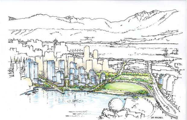 georgia street new urban waterfront park aerial rendering