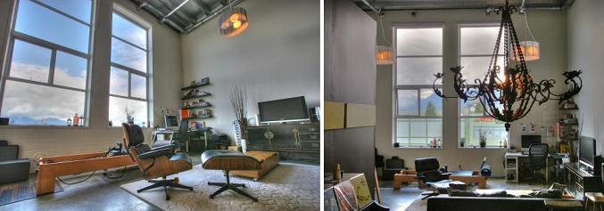 The Workshop 1220 E Pender Mount Pleasant Loft living room 1-2