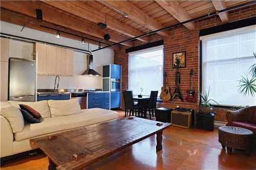 #208 55 E Cordova St Loft Living Room Gastown