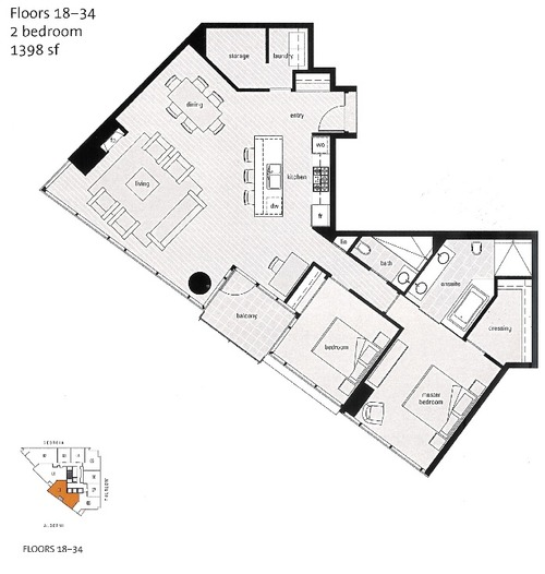 Shangri la unit 09, floors 18-34, 2 bedroom, 1398 sq ft