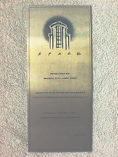 The Space - Building Plaque