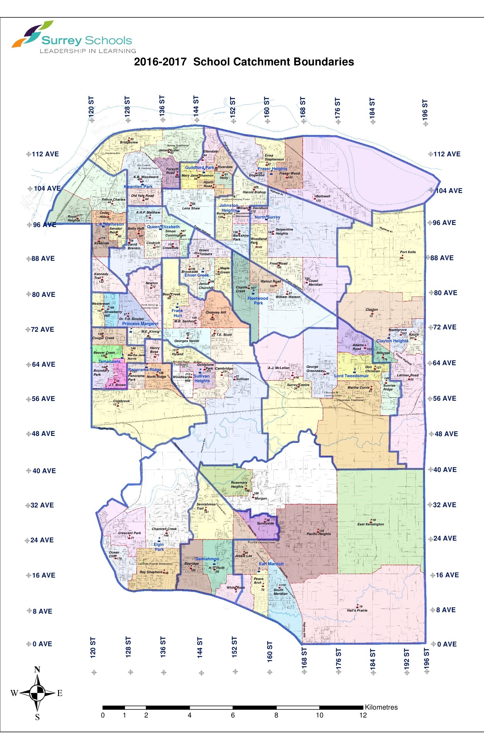 2016 17 surrey schools catchment boundaries map