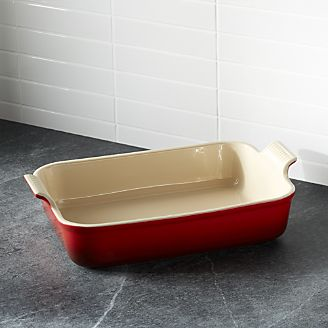 le creuset heritage rectangle cherry red baking dish