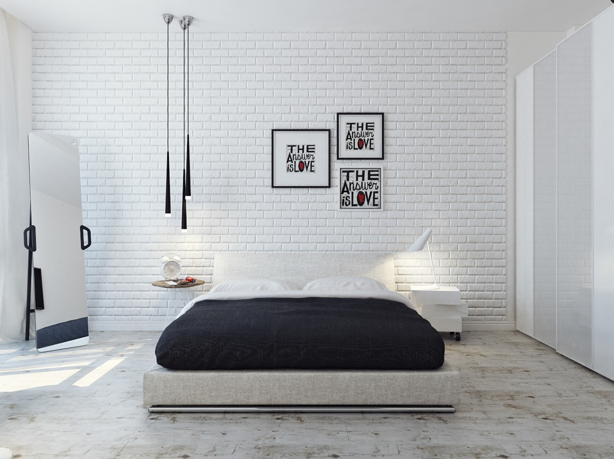 creative word wall decoration in white bricked