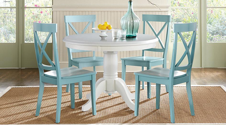 dr rm brynwood reg wht blue brynwood white 5 pc round dining set