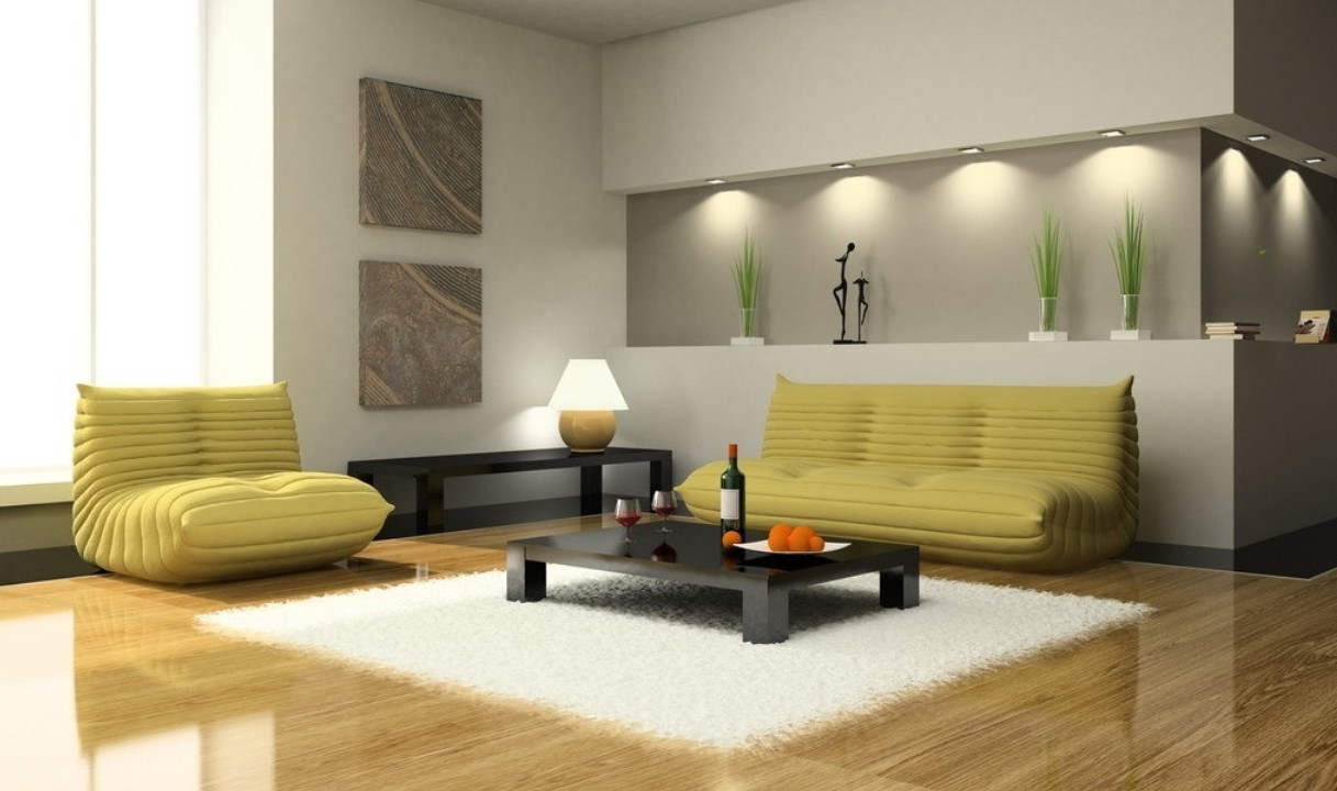 interior design living room wool carpet sofa black wooden table cushions table lamp ceiling lights frame vase window