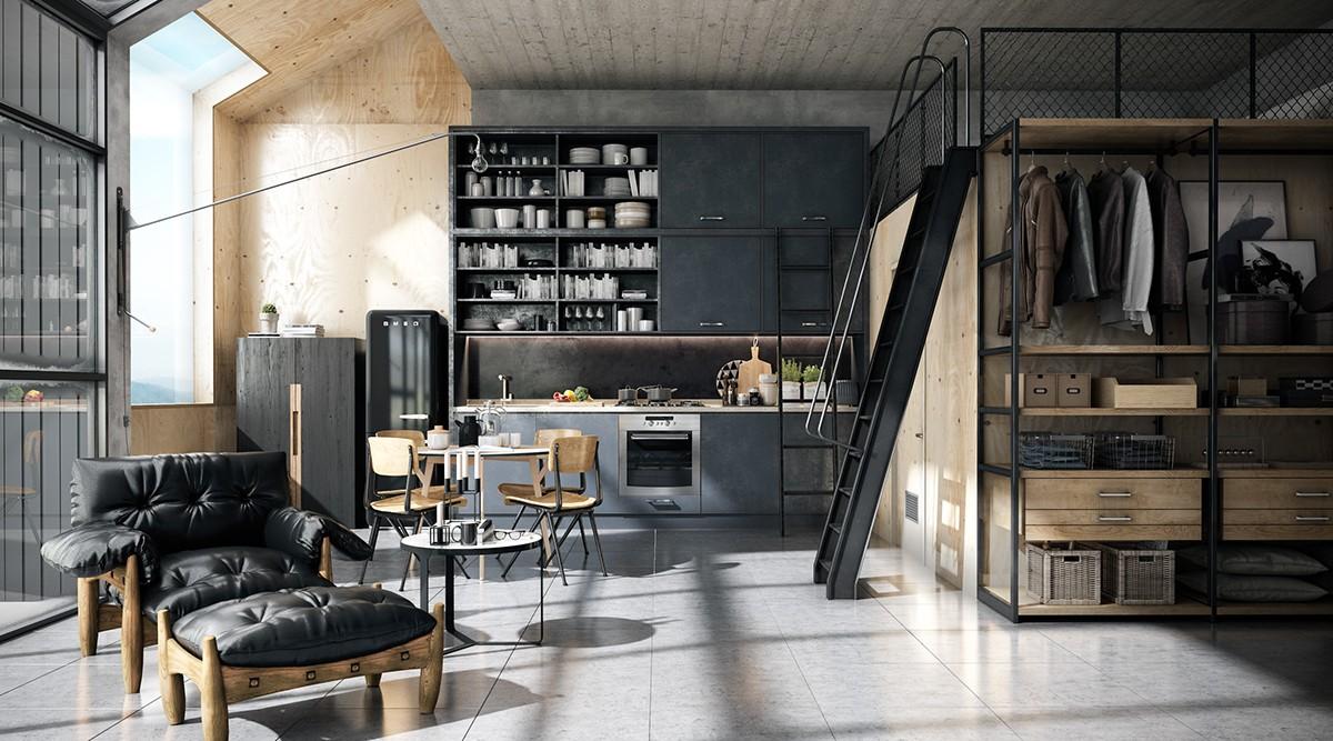 modern masculine loft