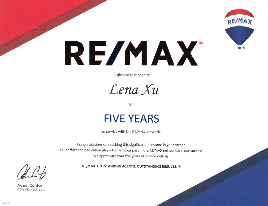 5 years certificate from remax
