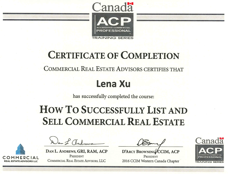 commercial real estate certificate