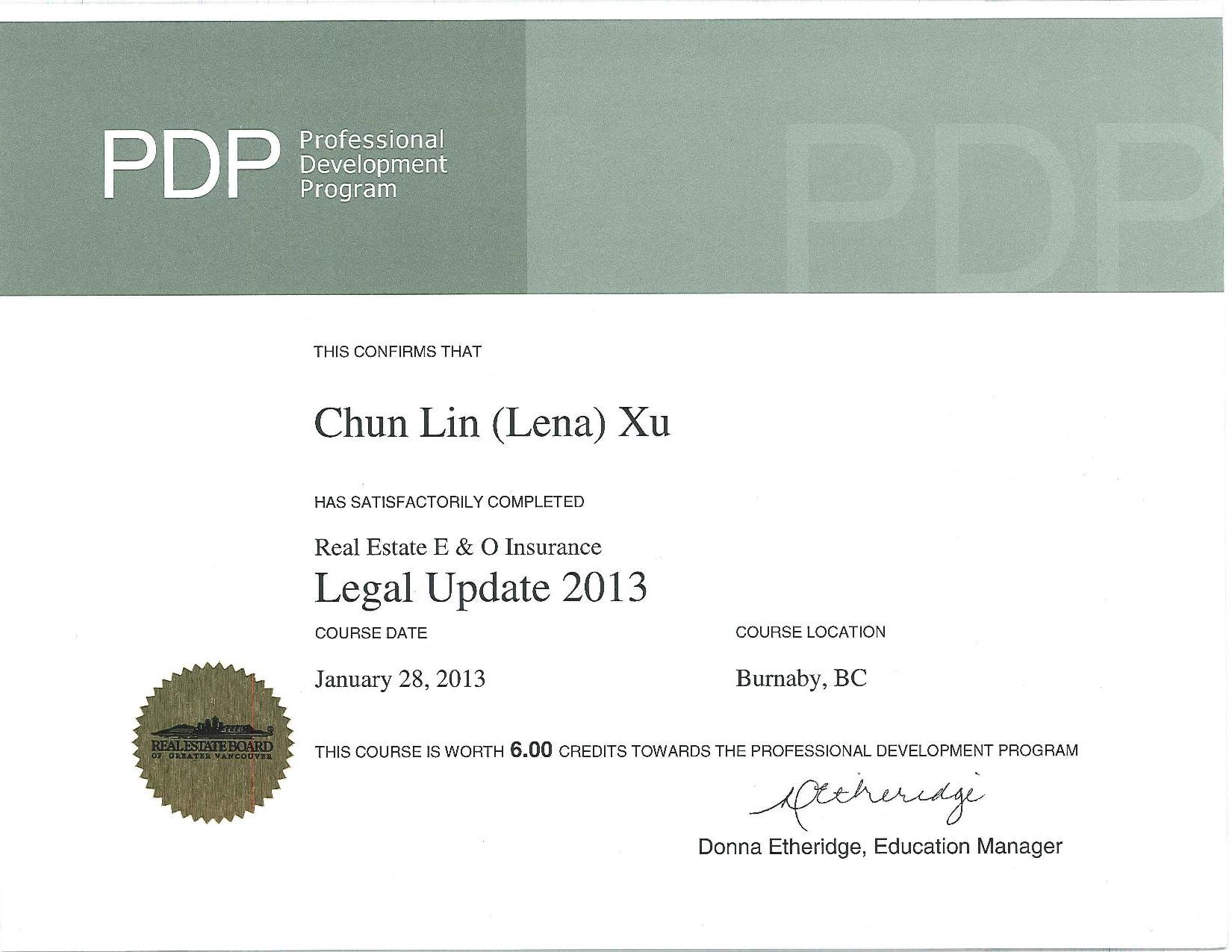 pdp legal update 2013 course