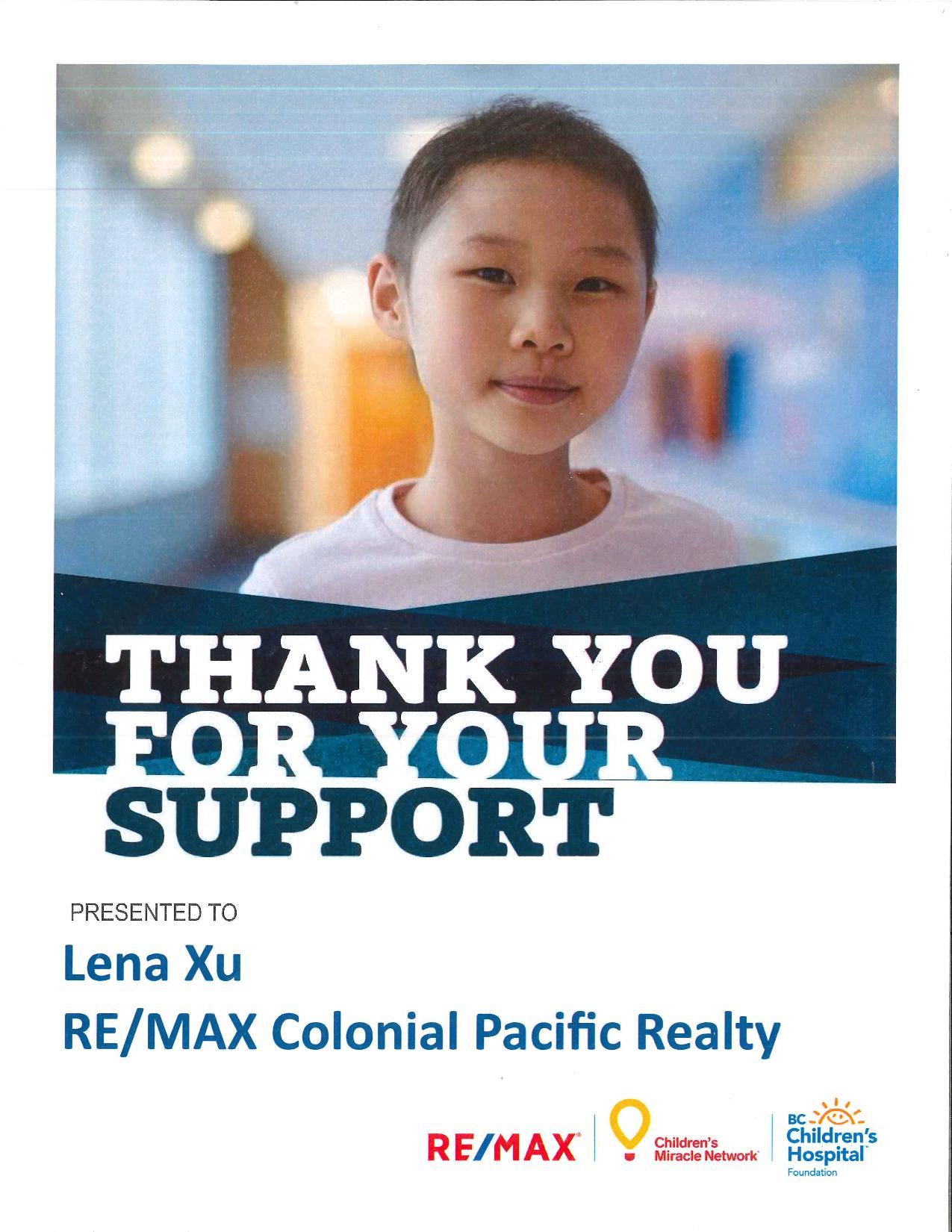 thanks letter bc children hospital