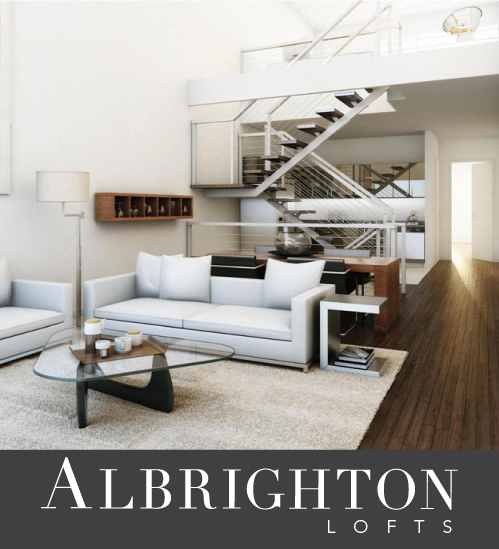 Albrighton lofts logo white vertical space with stairs