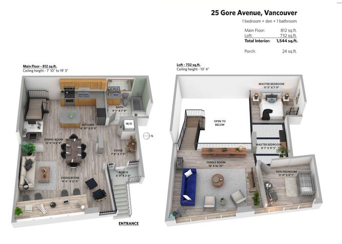 25 gore 3d rendering floor plan for the edge lofts
