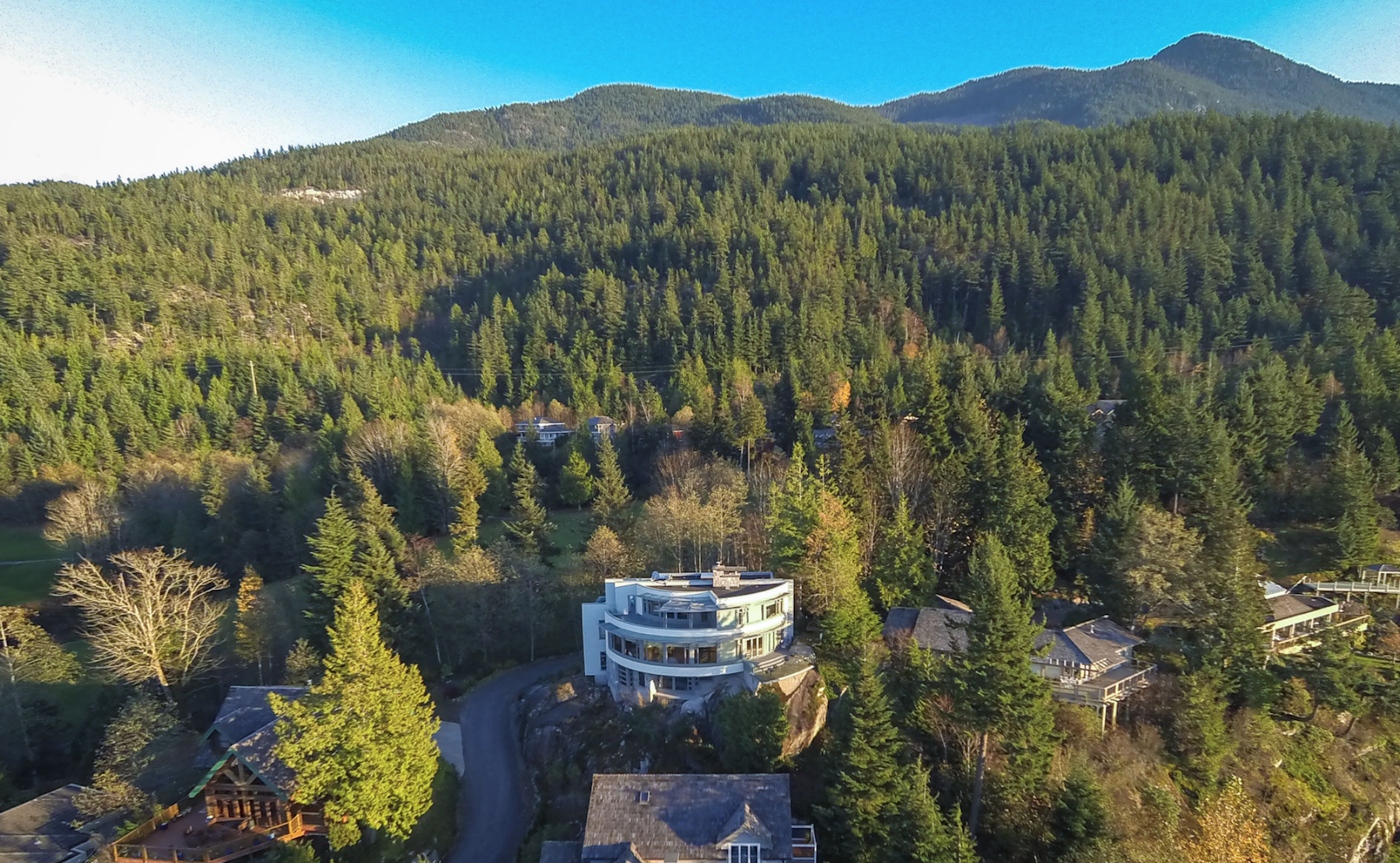 ariel shot west van modern home