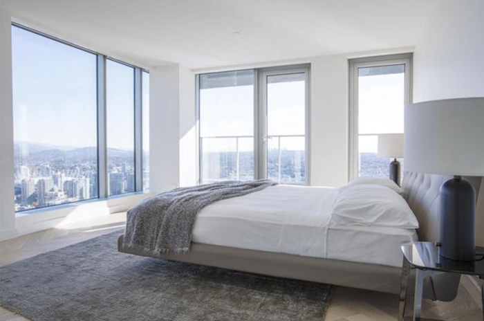 bedroom area with view vancouver house penthouse 1480 howe street