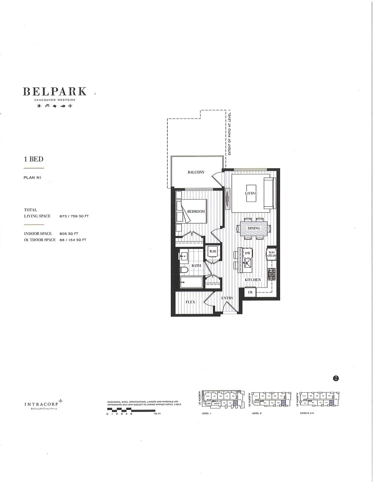 floor plan for Belpark modern 1 bedroom condo vancouver
