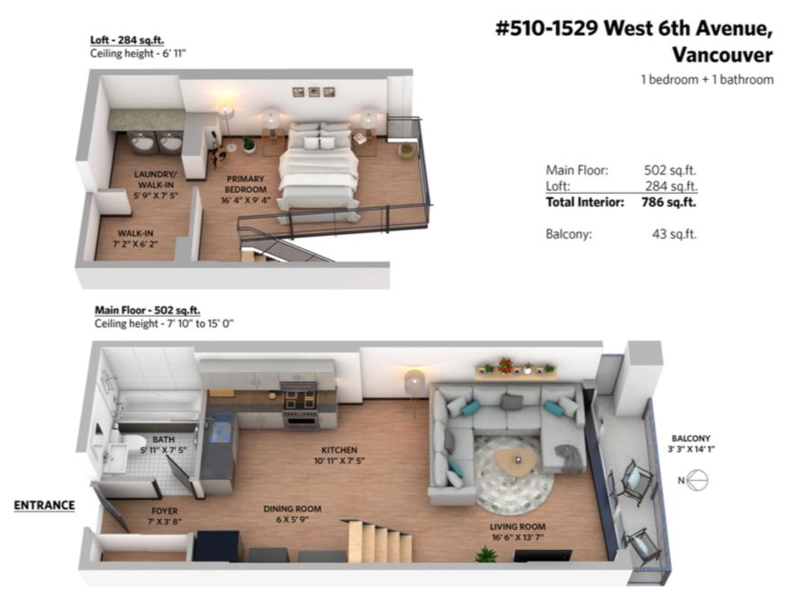 floor plan 510  1529 w 6th ave south granville loft concrete