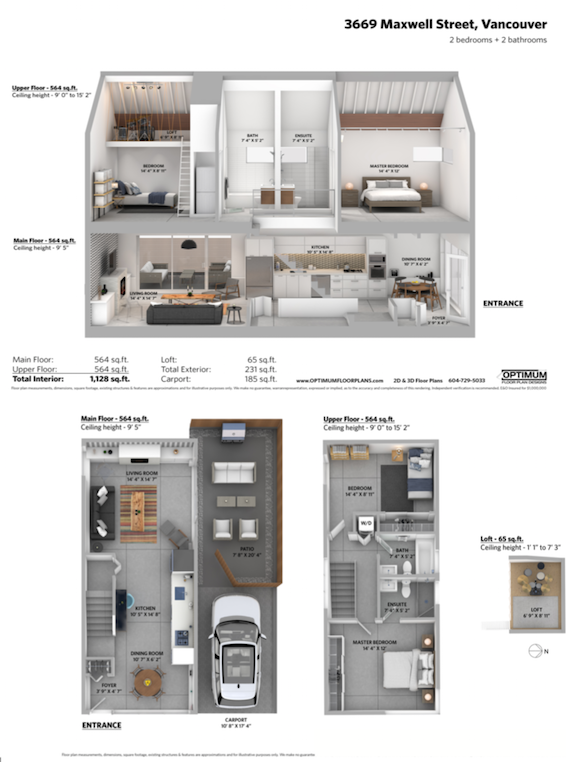 floor plan and side view rendering of east vancouver modern home