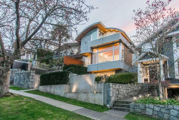 frits de vries modern house for sale in the cambie area concrete and steel home with curved roof city views