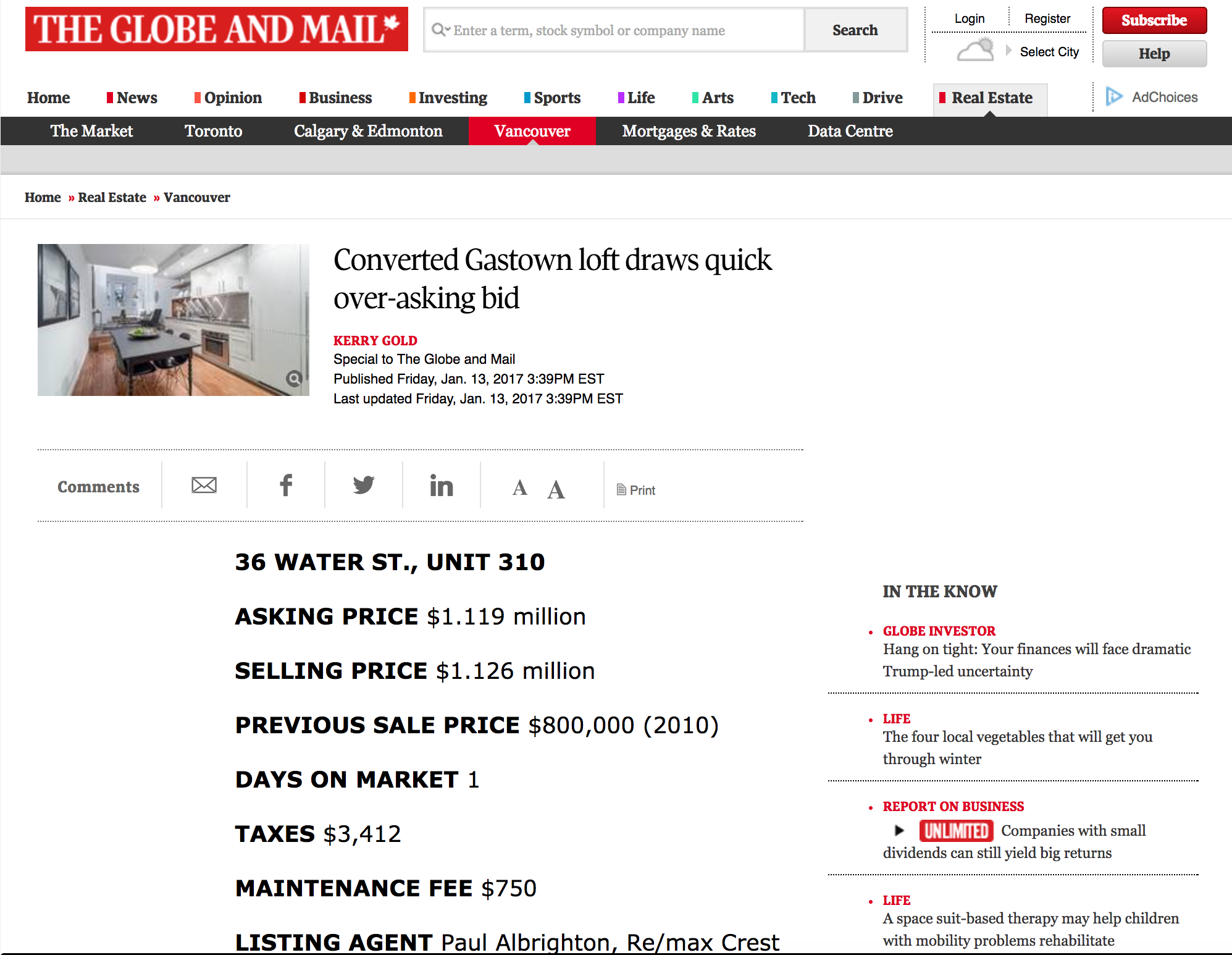 globe and mail   converted gasatown loft draws quick over asking bid 36 water st