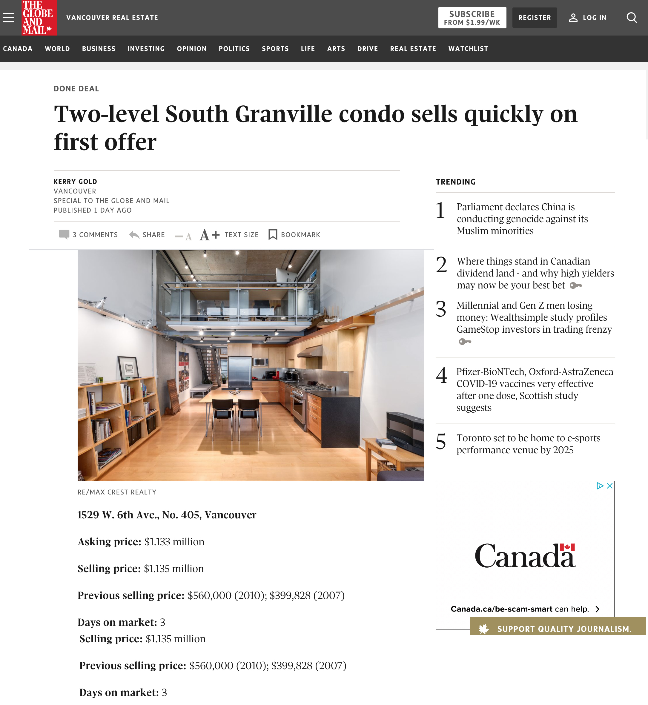 globe and mail done deal vancouver loft