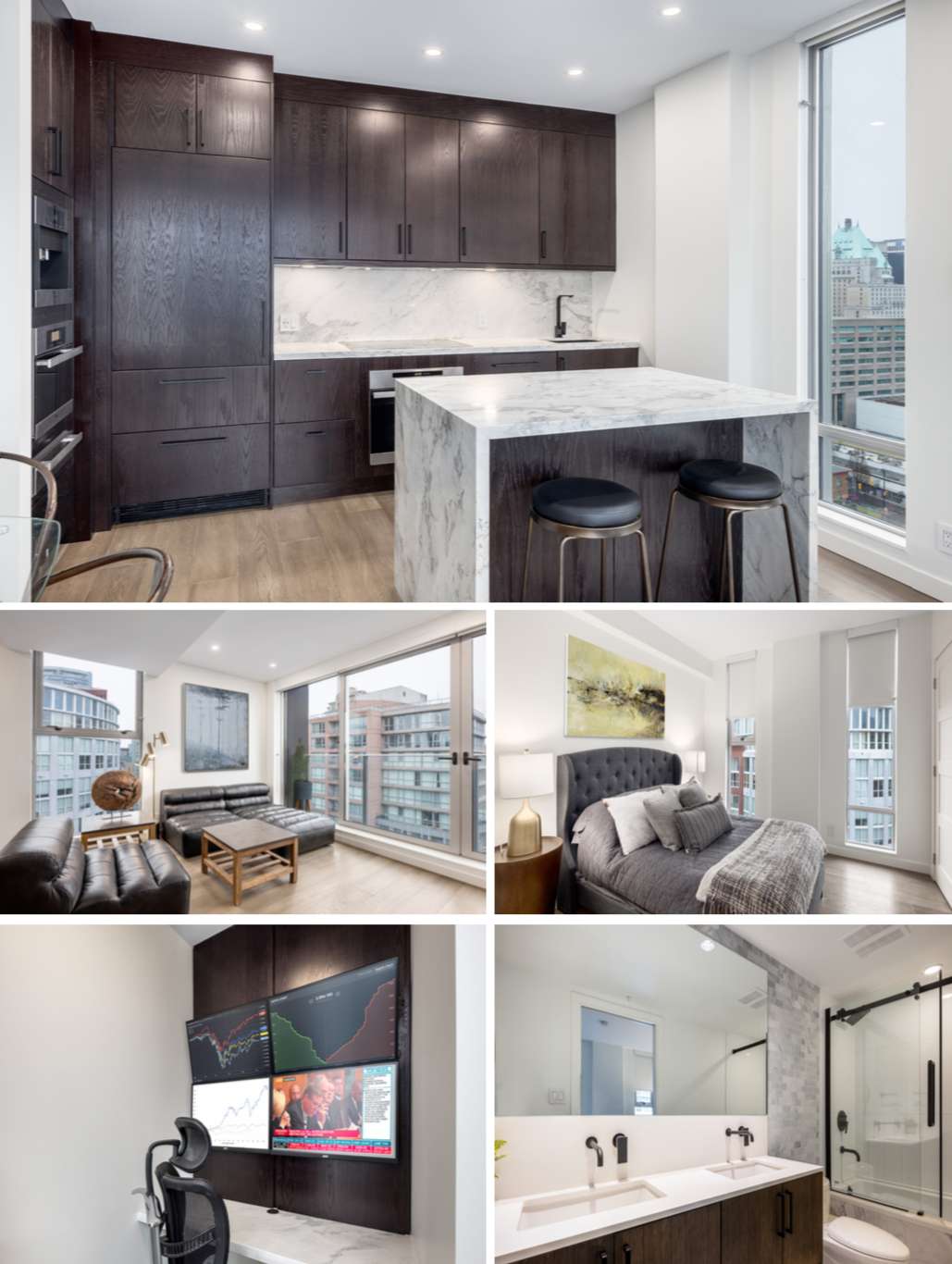 modern downtown vancouver penthouse for sale with marble counters