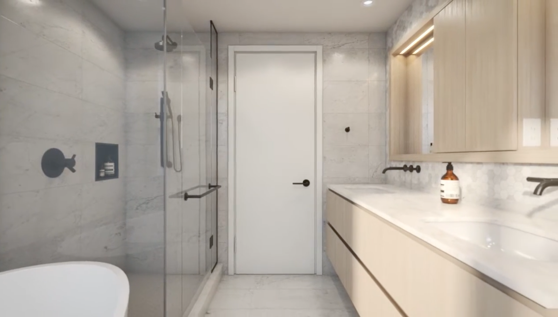 modern washroom armony cabinets marble interior