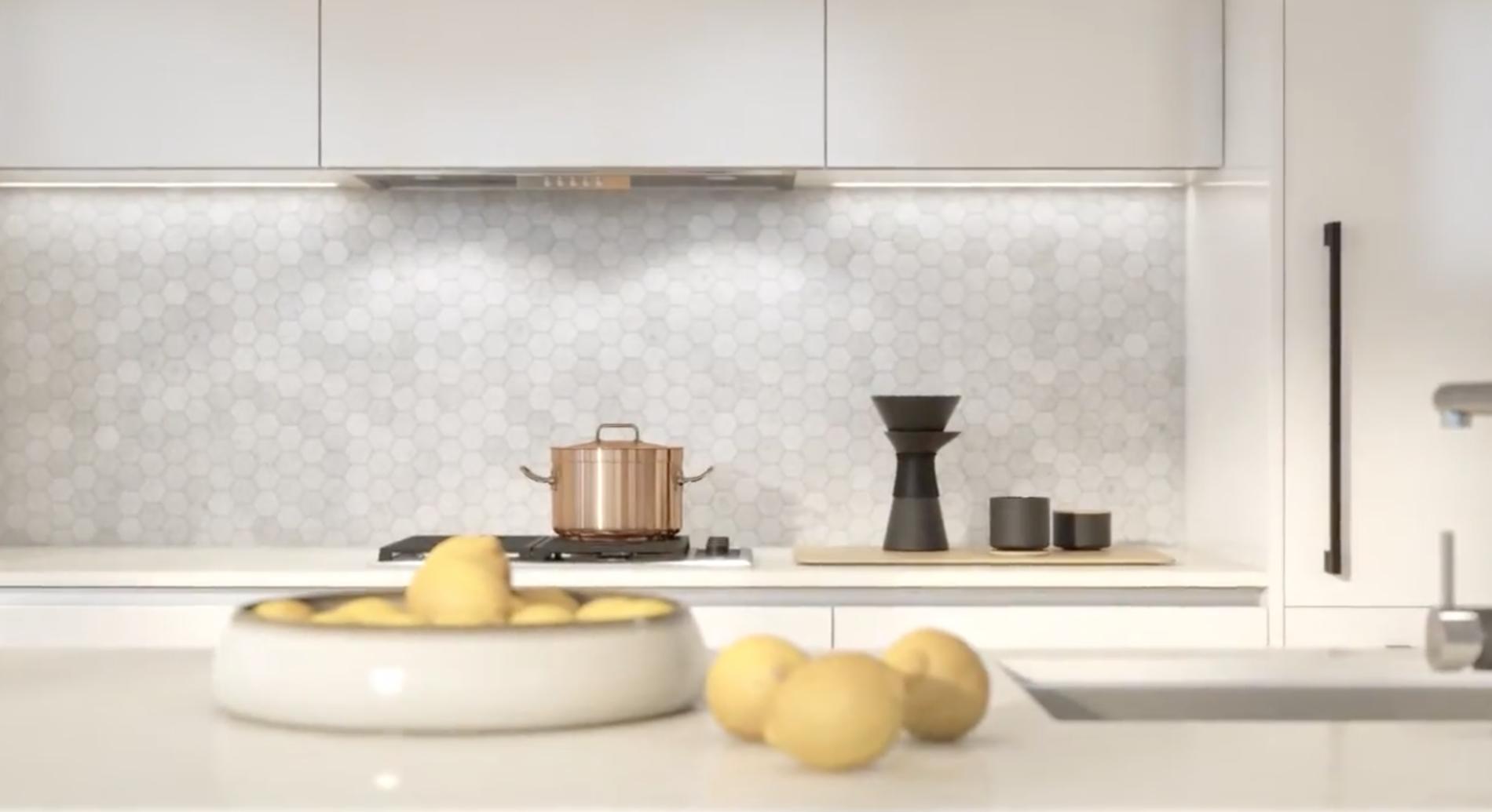 chic modern kitchen with quartz counters