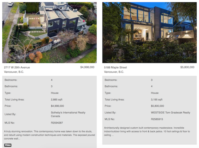 vancouver west modern homes for sale