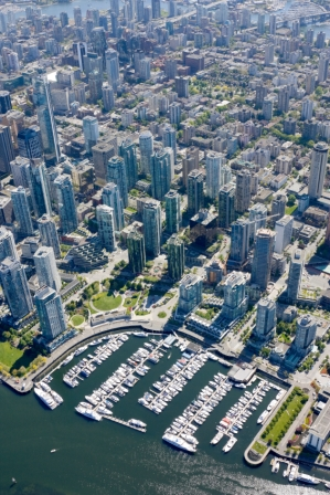 Coal Harbour condos aerial