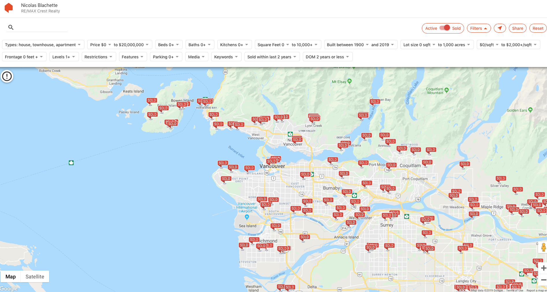 sold map vancouver homes