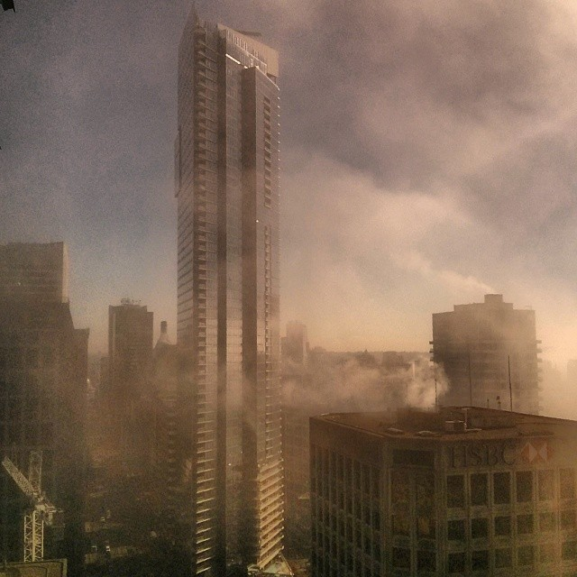 the shangri la in the fog yesterday vancouver vanarch vancity vancouverisawesome fogcouver a